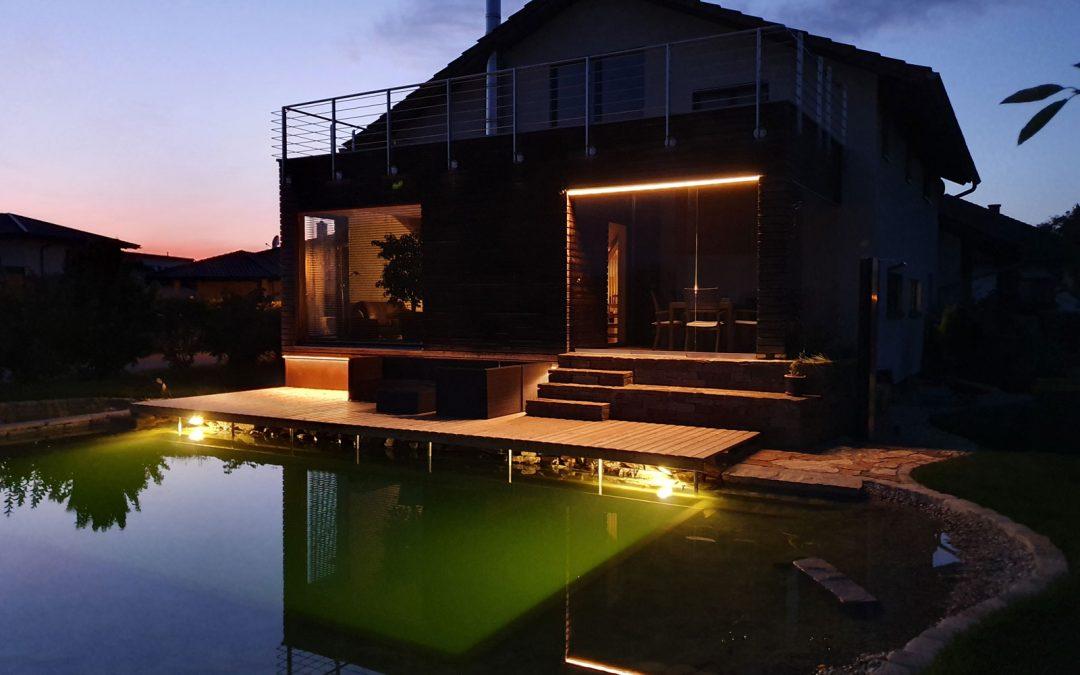 Schwimmteich- und Terrassenbeleuchtung
